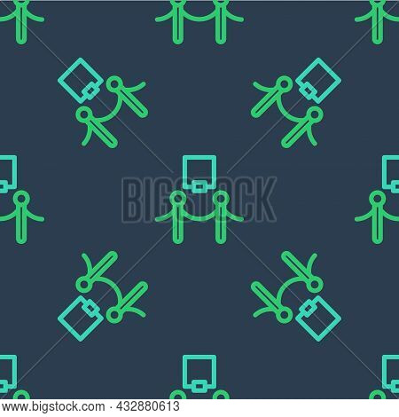 Line Picture Frame And Rope Barrier Icon Isolated Seamless Pattern On Blue Background. Exhibit Prote