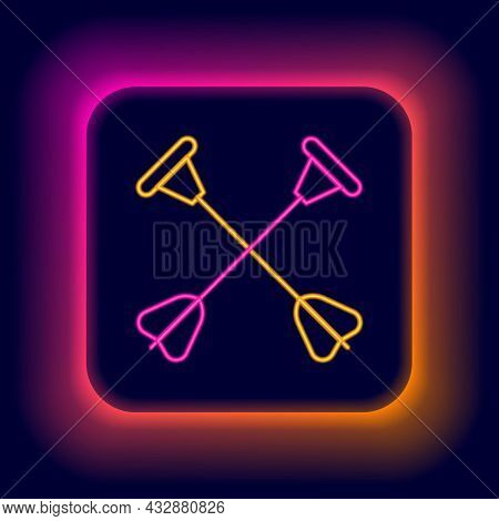 Glowing Neon Line Arrow With Sucker Tip Icon Isolated On Black Background. Colorful Outline Concept.