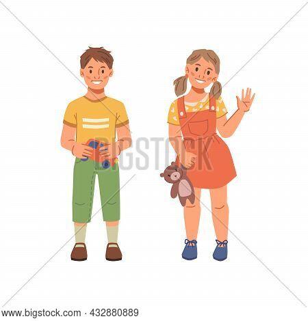 Preschool Children Boy And Girl Isolated Flat Cartoon Characters. Vector Happy Smiling Caucasian Kid