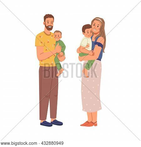 Happy Family, Father, Mother, Two Sons Together Isolated Flat Cartoon Characters. Vector Mature Age