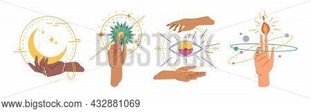 Esoteric, Magic Hands Sign Symbols Created By Gestures. Vector Mystical Goddess Hands, Evil Eye, Cel