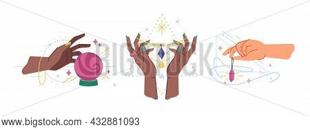 Hands With Magic Ball Crystal, Spells With Gem Amulet Isolated Flat Cartoon Set. Vector Modern Esote