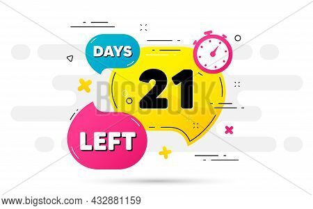 Twenty One Days Left Icon. Countdown Number On Abstract Flow Pattern. 21 Days To Go Sign. Count Offe