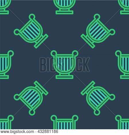 Line Ancient Greek Lyre Icon Isolated Seamless Pattern On Blue Background. Classical Music Instrumen