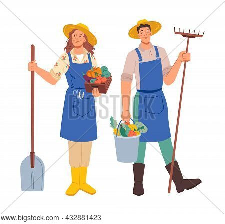 Farmer Gardener Man Woman Profession Occupation Isolated Flat Cartoon Characters. Vector Agriculture