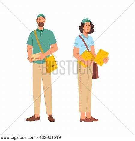 Postman Or Mailman Letter-carrier Isolated Flat Cartoon Characters Man And Woman In Uniform. Vector