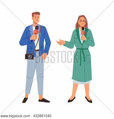 Journalists, News Crew Characters With Microphone, Professional Workers Isolated Flat Cartoon Man An
