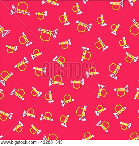 Line Trumpet With Flag Icon Isolated Seamless Pattern On Red Background. Musical Instrument Trumpet.