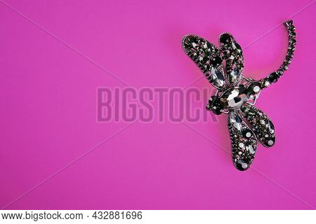 A Thematic Snapshot Of Fashionable Jewelry Accessories. An Expensive And Beautiful Brooch In The For