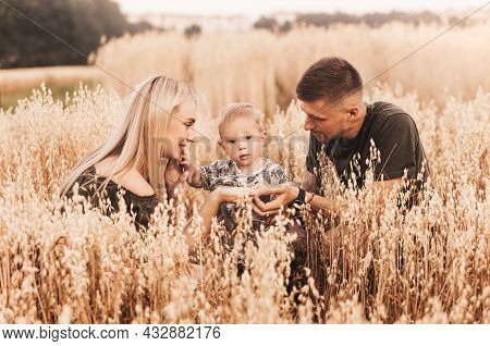 Beautiful Family Parents And A Little Son In A Wheat Field. Mom, Dad And Baby Together. Happy Family