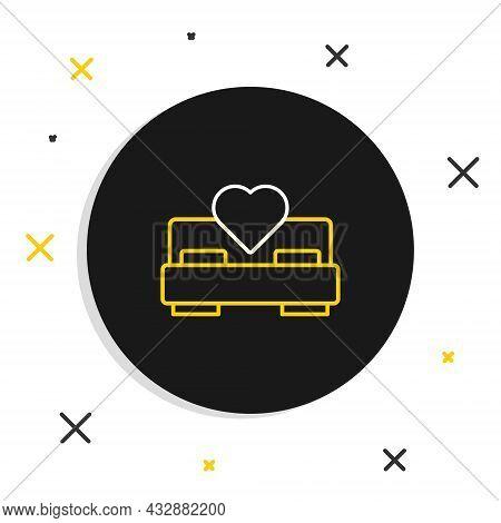Line Bedroom Icon Isolated On White Background. Wedding, Love, Marriage Symbol. Bedroom Creative Ico