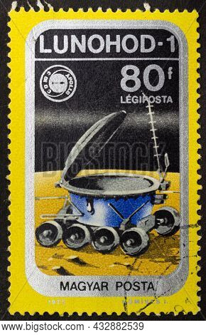 Hungary - Circa 1975: Postage Stamp 'lunokhod 1 On Moon' Printed In Hungary. Series: 'airpost. Space