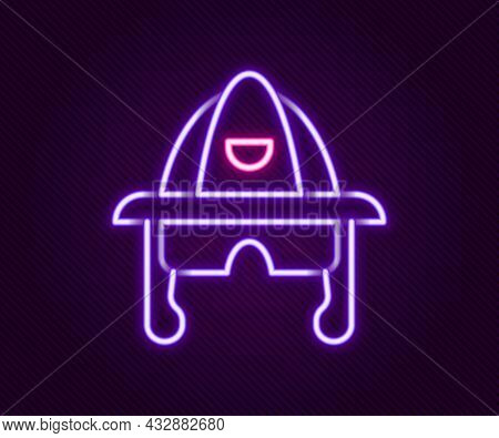 Glowing Neon Line Firefighter Helmet Or Fireman Hat Icon Isolated On Black Background. Colorful Outl