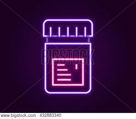 Glowing Neon Line Biologically Active Additives Icon Isolated On Black Background. Colorful Outline