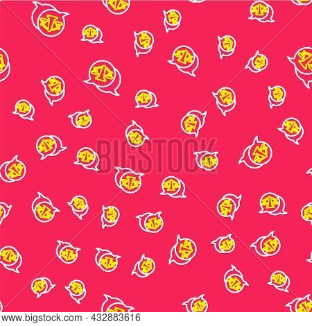 Line Scales Of Justice Icon Isolated Seamless Pattern On Red Background. Court Of Law Symbol. Balanc