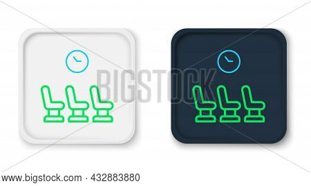 Line Waiting Room Icon Isolated On White Background. Colorful Outline Concept. Vector