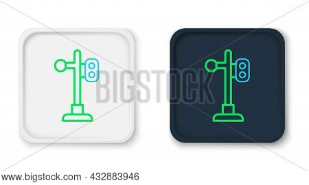 Line Train Traffic Light Icon Isolated On White Background. Traffic Lights For The Railway To Regula