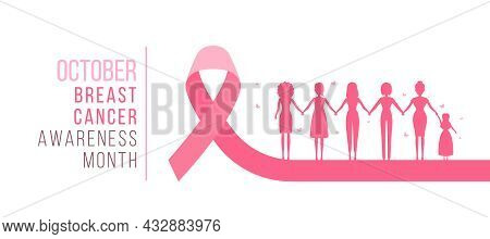 October Breast Cancer Awareness Month Text And Group Of Woman Hand Hold Hand To Hope On Pink Ribbon
