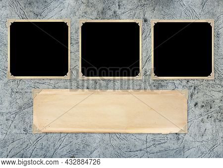 Three retro photos on cardboard photo album page. Vintage blank photo frames and empty paper sheet in photo book. Mockup template. Copy space for your text