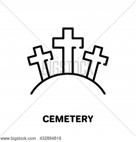 Cemetery With Tombstone And Cross Line Icon. Gravestone, Tomb, Tombstone Linear Pictogram. Graveyard