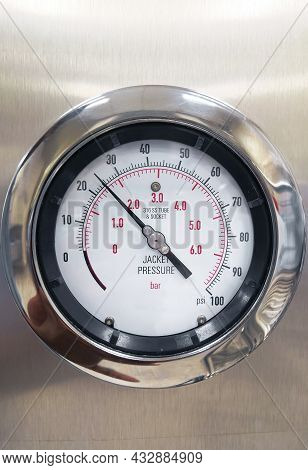 Closeup Image Of Steam Sterilizer Machine Jacket Pressure Gauge