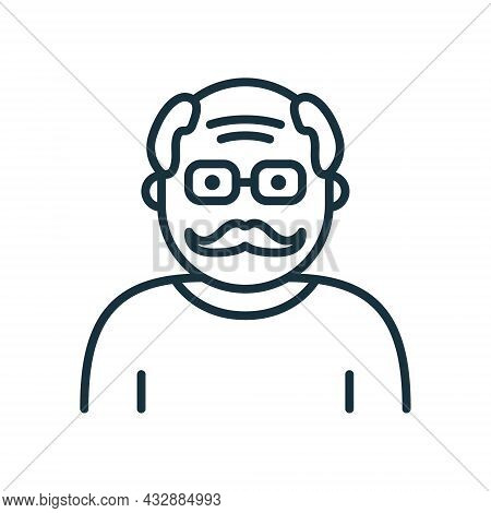 Old Senior Person Line Icon. Happy Elder Man Linear Pictogram. Old Grandfather Outline Icon. Retirem