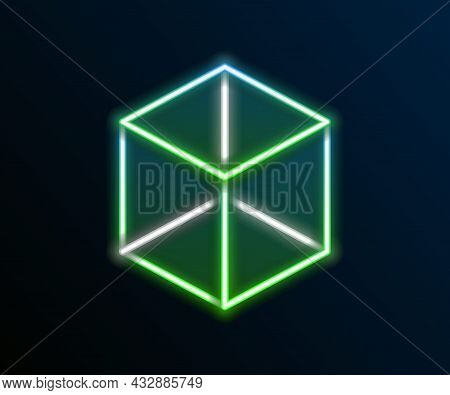 Glowing Neon Line Geometric Figure Cube Icon Isolated On Black Background. Abstract Shape. Geometric