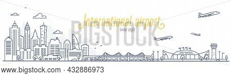 Cityscape With City Airport. Concept Of A City To The Airport And Back Transfer, Or Commute. Outline