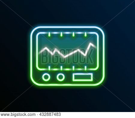 Glowing Neon Line Electrical Measuring Instrument Icon Isolated On Black Background. Analog Devices.