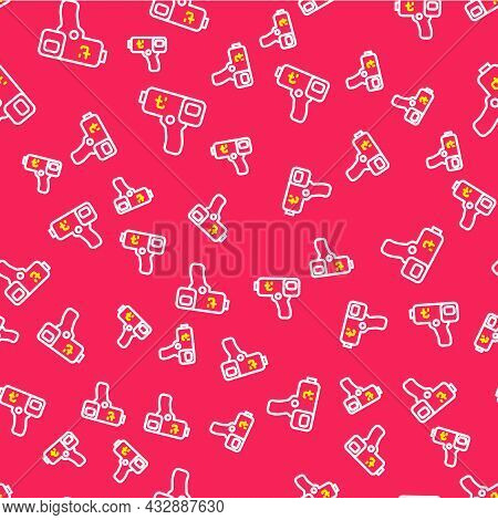Line Digital Contactless Thermometer With Infrared Light Icon Isolated Seamless Pattern On Red Backg