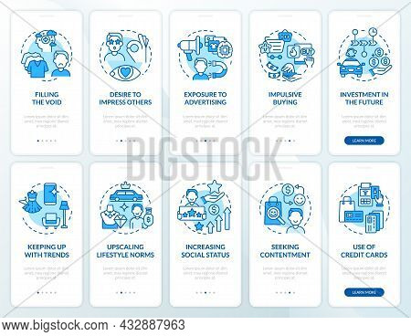 Consumerism Blue Onboarding Mobile App Page Screen Set. Excessive Buying Reasons Walkthrough 5 Steps