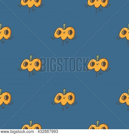 Seamless Pattern With Cute Pumpkins On  Purple Background. Halloween Doodle Wallpaper. Autumn Cartoo