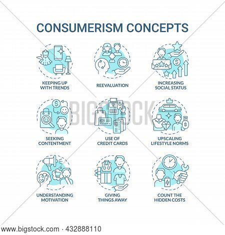 Consumerism Blue Concept Icons Set. Mindless Purchasing. Reasons To Buy More. Spend Money. Excessive