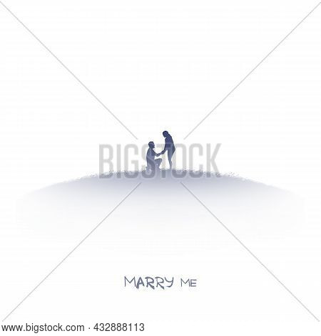 Romantic Marriage Proposal. Kneeling Man. Couple Isolated Silhouette