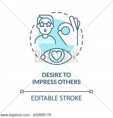 Desire To Impress Others Blue Concept Icon. Buy Things To Impress Friends. Excessive Consumerism Abs