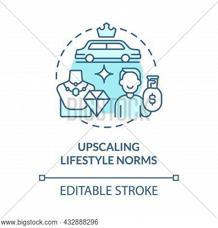 Upscaling Lifestyle Norms Blue Concept Icon. Envy Makes Us Overspend Money. Competitive Consumerism