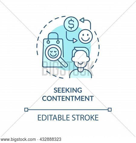 Seeking Contentment Blue Concept Icon. Excessive Buying Does Not Lead To Happiness. Overspending Abs