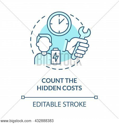 Count Hidden Costs Blue Concept Icon. Purchases Cost More Than Money. Responsible Consumption Abstra