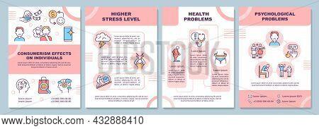 Effects Of Consumerism Brochure Template. Psychological Problems. Flyer, Booklet, Leaflet Print, Cov