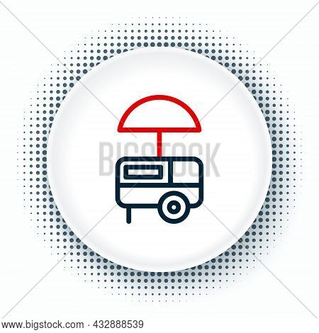 Line Fast Street Food Cart With Awning Icon Isolated On White Background. Urban Kiosk. Ice Cream Tru