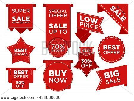 Set Ribbon Banner And Label Sticker Sale Offer And Badge Tag Sale. Flat Labels, Ribbons And Tags For