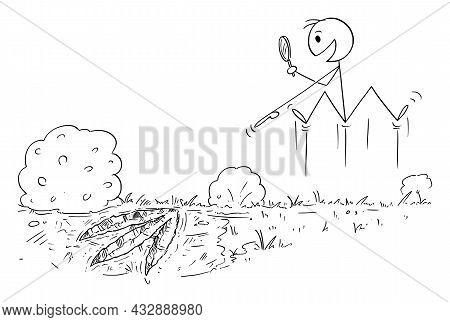 Happy Paleontologist Just Found Footprint Of Extinct Dinosaur , Vector Cartoon Stick Figure Illustra