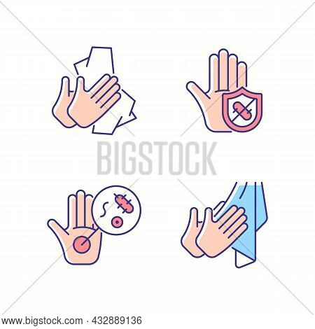 Infection Prevention Rgb Color Icons Set. Wiping Off Dirt And Germs. Dry Hands With Towel. Microbes