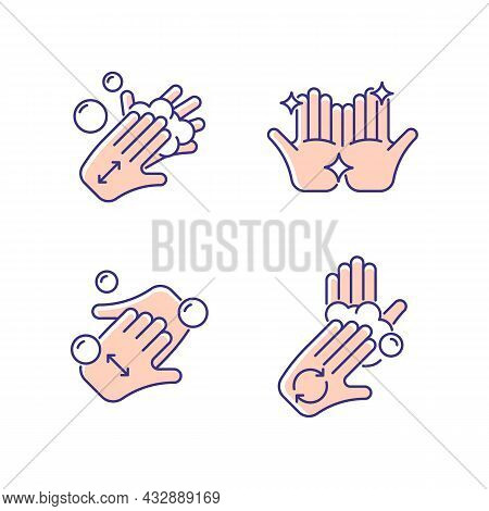 Washing Hands Instruction Rgb Color Icons Set. Rubbing Hands Together With Soap. Cup Fingers. Rub Pa
