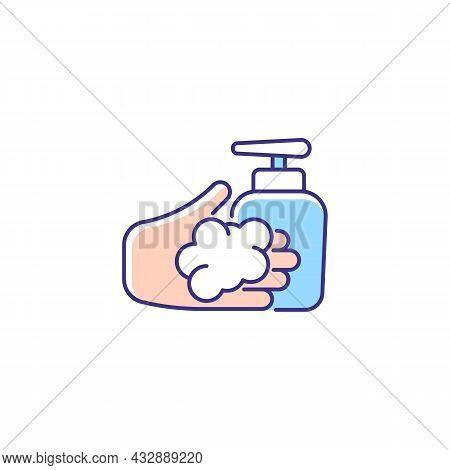 Washing With Liquid Soap Rgb Color Icon. Minimizing Germs Transfer Risk. Keeping Hands Smooth And Mo
