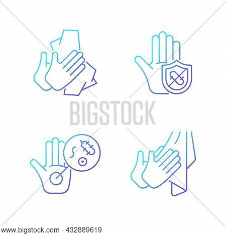 Infection Prevention Gradient Linear Vector Icons Set. Wiping Off Dirt, Germs. Dry Hands With Towel.