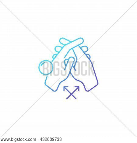 Interlink Fingers Gradient Linear Vector Icon. Removing Dirt Between Fingers. Hand Hygiene. Cleaning