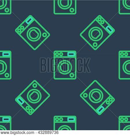 Line Washer Icon Isolated Seamless Pattern On Blue Background. Washing Machine Icon. Clothes Washer