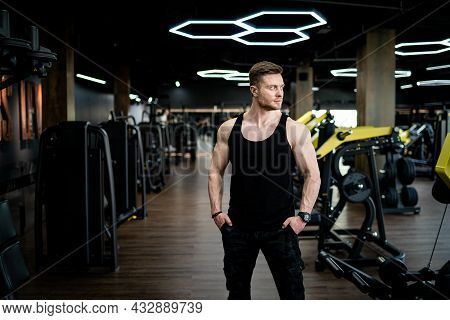 Handsome Strong Bodybuilder Standing In The Gym. Powerful Muscular Man Looking Into Camera.