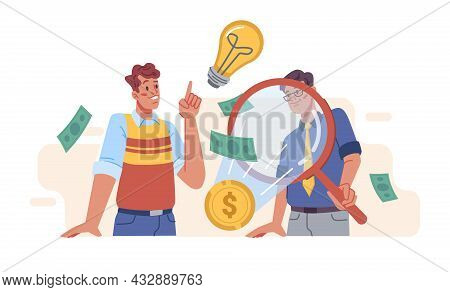 Thinking Business People Searching And Finding Solution With Magnifier Glass And Light Bulb Isolated